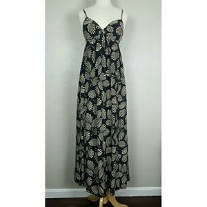 Ted Baker London Maxi Dress in Black with Tan Leaf